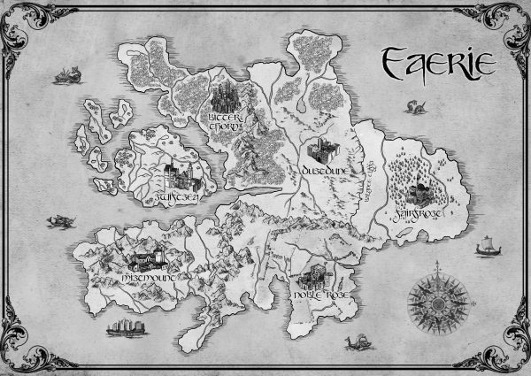 Map of Faerie. From Court of Bitter Thorn by Kay L Moody. Book 1 of The Fae of Bitter Thorn.