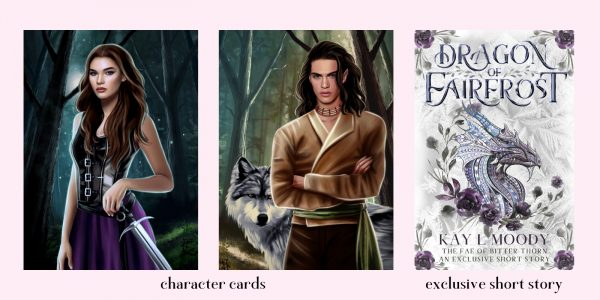 Pre-order incentive for Crown of Bitter Thorn (The Fae of Bitter Thorn book 3). Get 2 character cards and an exclusive short story when you send proof of your pre-order!